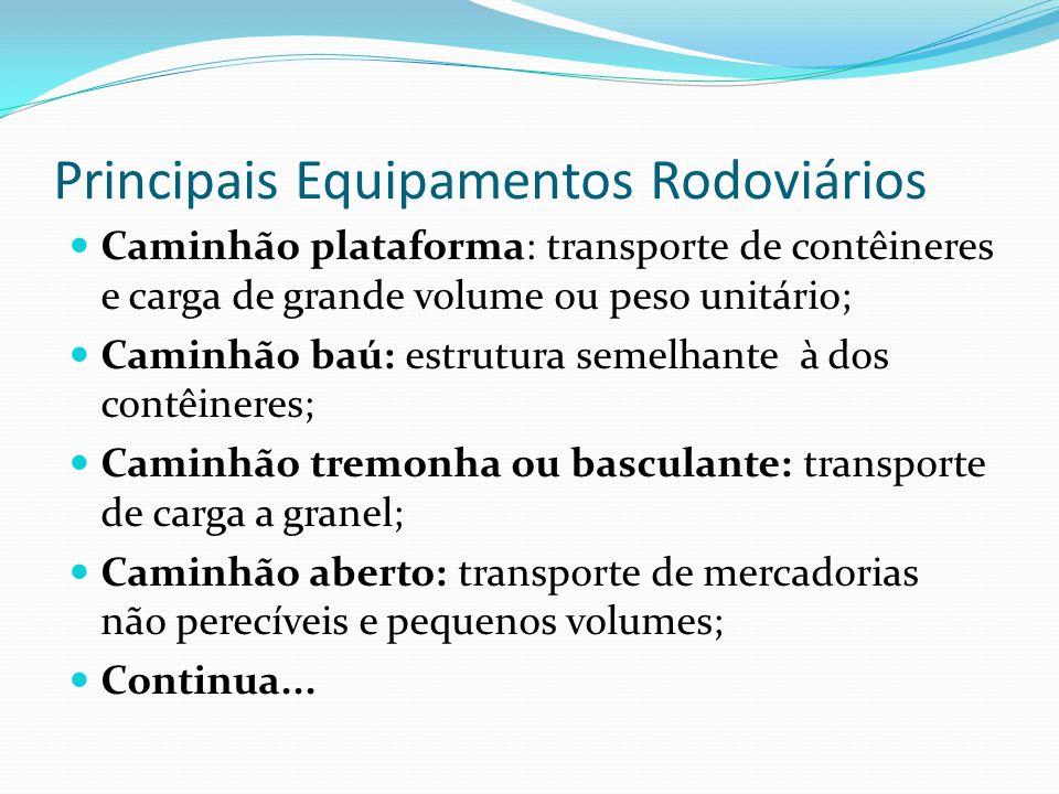 Principais Equipamentos Rodoviários Caminhão plataforma: transporte de contêineres e carga de grande volume ou peso unitário; Caminhão baú: estrutura