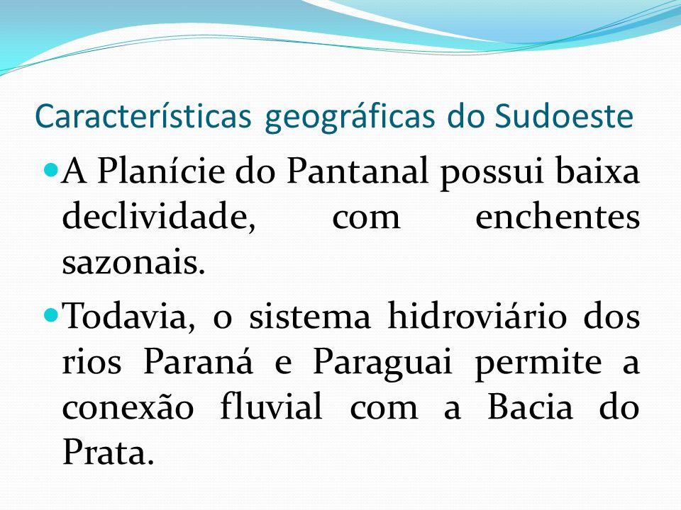 Características geográficas do Sudoeste A Planície do Pantanal possui baixa declividade, com enchentes sazonais. Todavia, o sistema hidroviário dos ri