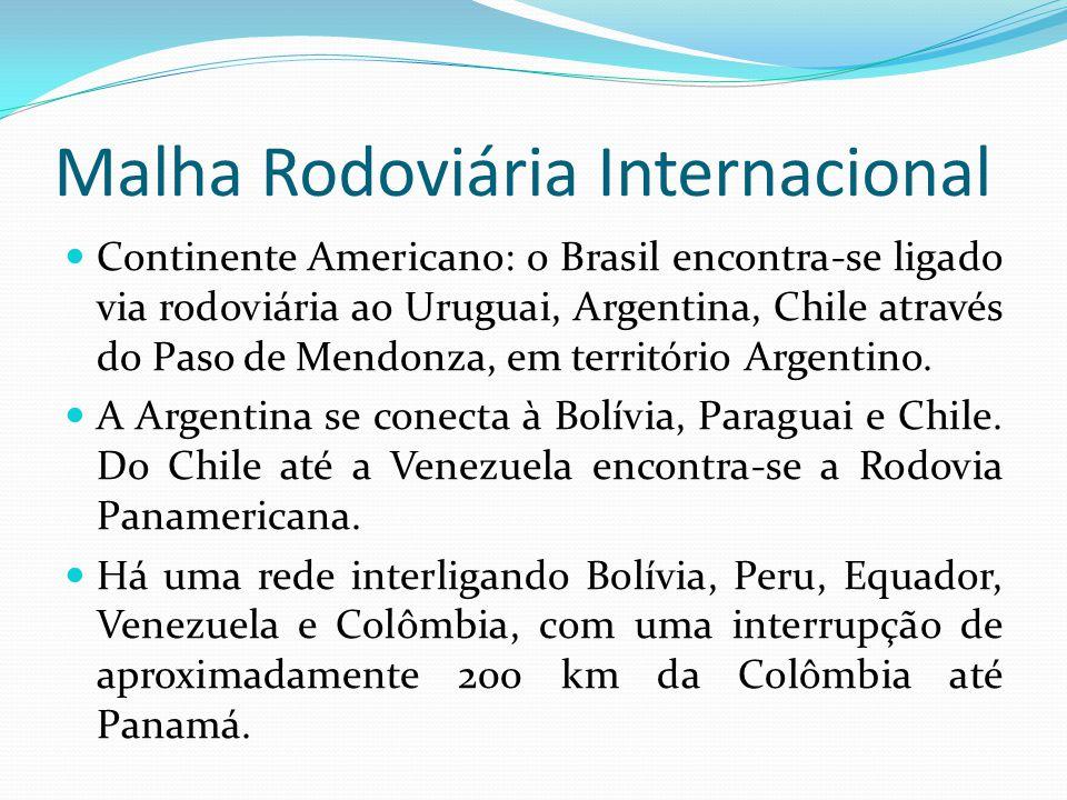 Malha Rodoviária Internacional Continente Americano: o Brasil encontra-se ligado via rodoviária ao Uruguai, Argentina, Chile através do Paso de Mendon
