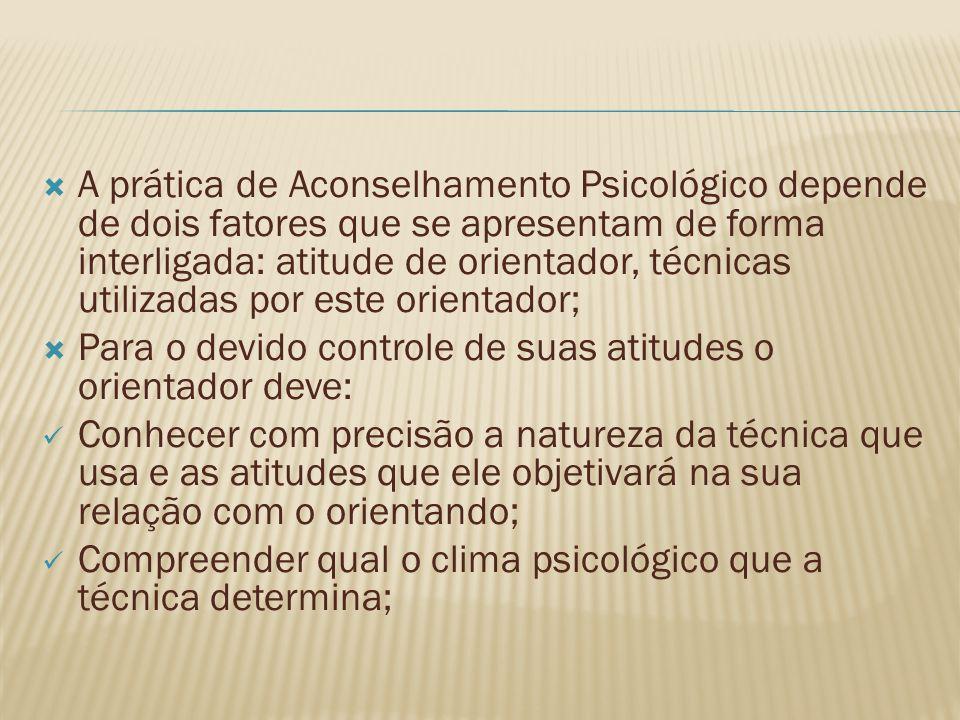 A prática de Aconselhamento Psicológico depende de dois fatores que se apresentam de forma interligada: atitude de orientador, técnicas utilizadas por