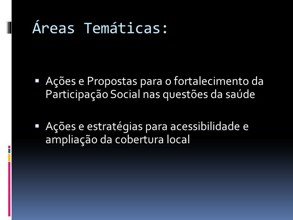 Áreas Temáticas: Ações e Propostas para o fortalecimento da Participação Social nas questões da saúde Ações e estratégias para acessibilidade e amplia