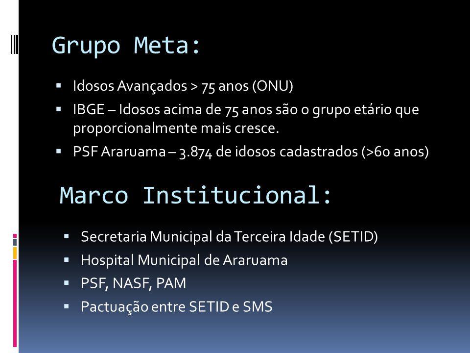 Grupo Meta: Idosos Avançados > 75 anos (ONU) IBGE – Idosos acima de 75 anos são o grupo etário que proporcionalmente mais cresce. PSF Araruama – 3.874