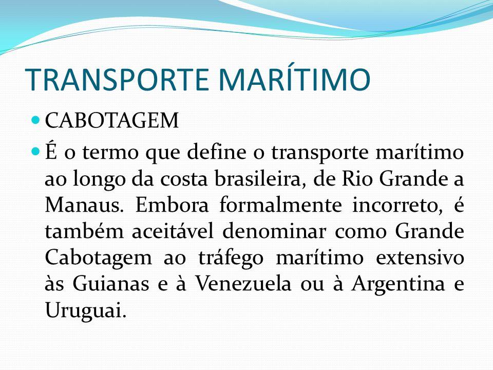TRANSPORTE MARÍTIMO CABOTAGEM É o termo que define o transporte marítimo ao longo da costa brasileira, de Rio Grande a Manaus. Embora formalmente inco