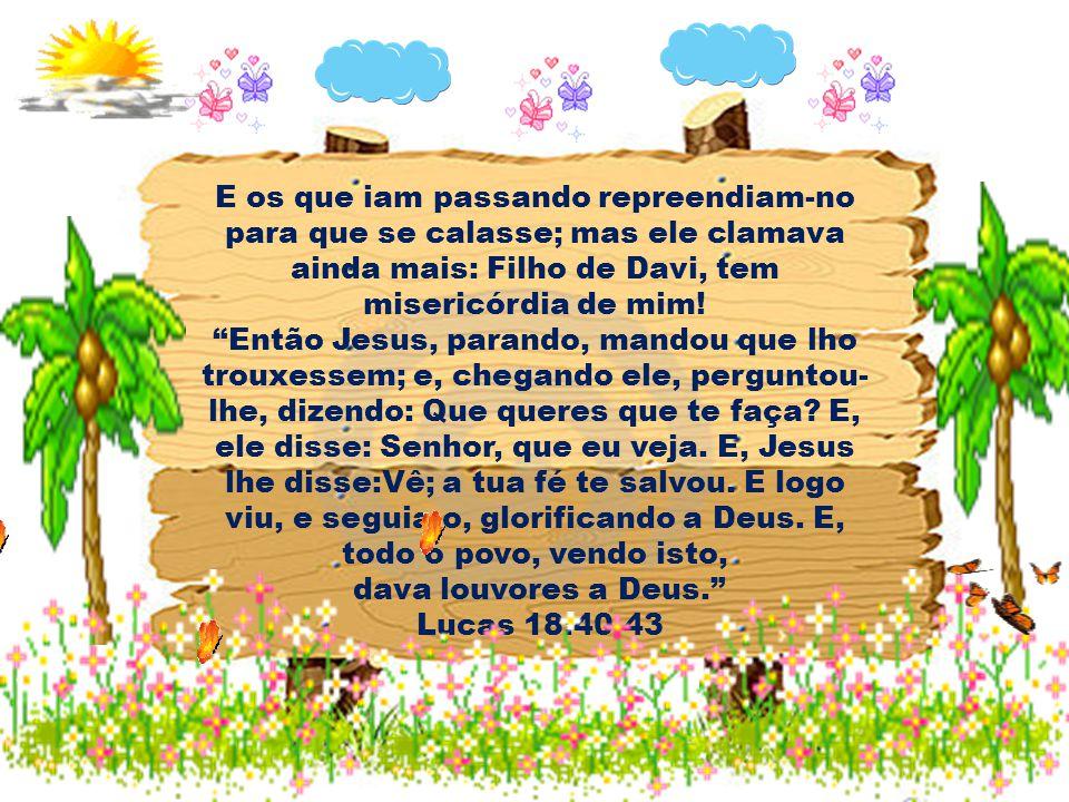 E os que iam passando repreendiam-no para que se calasse; mas ele clamava ainda mais: Filho de Davi, tem misericórdia de mim! Então Jesus, parando, ma