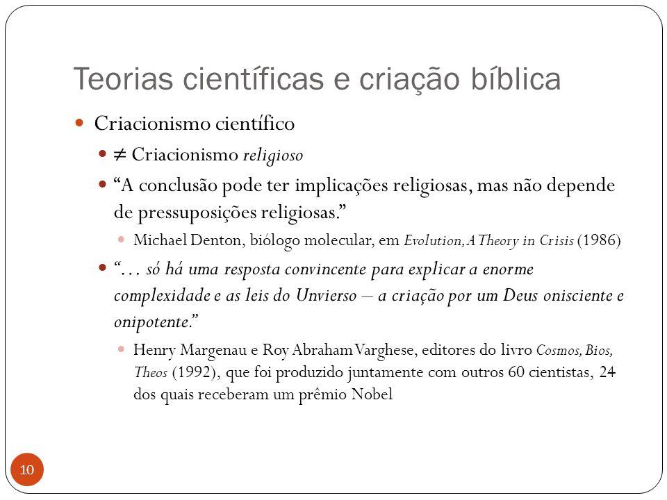 Teorias científicas e criação bíblica 10 Criacionismo científico Criacionismo religioso A conclusão pode ter implicações religiosas, mas não depende d