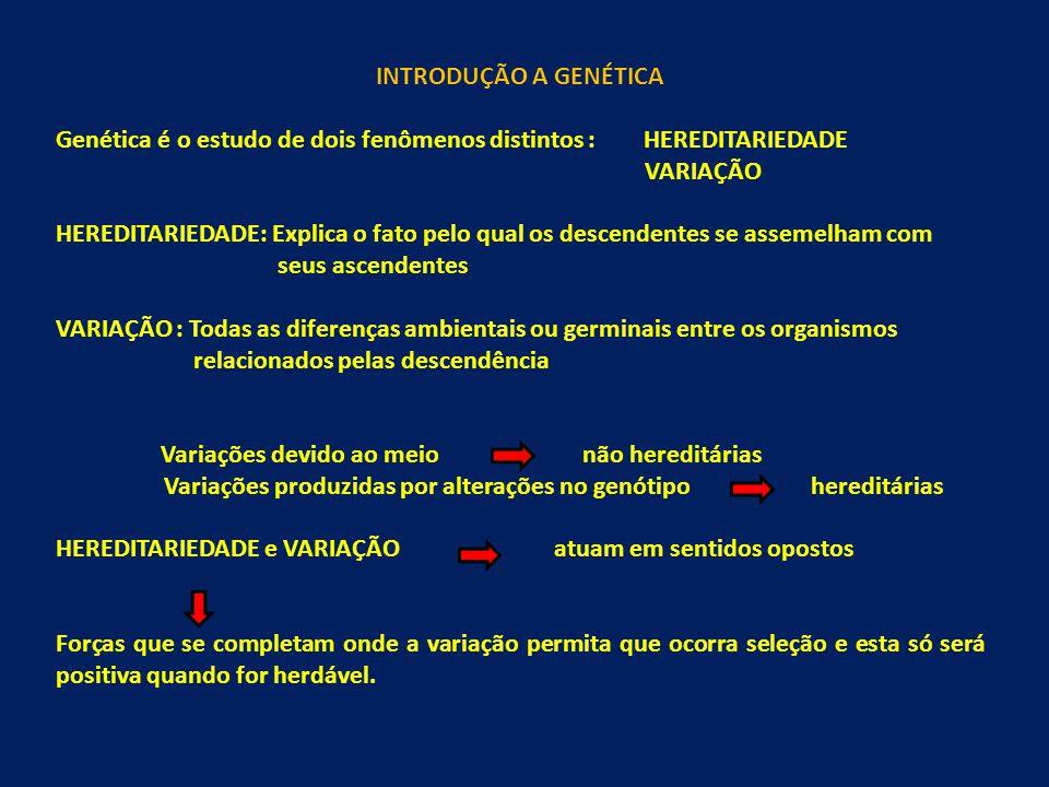 INTRODUÇÃO A GENÉTICA Genética é o estudo de dois fenômenos distintos : HEREDITARIEDADE VARIAÇÃO HEREDITARIEDADE: Explica o fato pelo qual os descendentes se assemelham com seus ascendentes VARIAÇÃO : Todas as diferenças ambientais ou germinais entre os organismos relacionados pelas descendência Variações devido ao meio não hereditárias Variações produzidas por alterações no genótipo hereditárias HEREDITARIEDADE e VARIAÇÃO atuam em sentidos opostos Forças que se completam onde a variação permita que ocorra seleção e esta só será positiva quando for herdável.