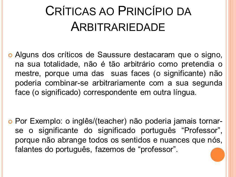 C RÍTICAS AO P RINCÍPIO DA A RBITRARIEDADE Alguns dos críticos de Saussure destacaram que o signo, na sua totalidade, não é tão arbitrário como preten