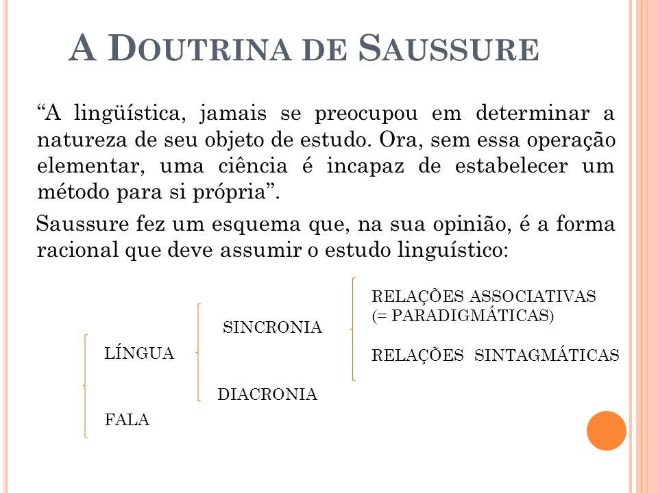A D OUTRINA DE S AUSSURE A lingüística, jamais se preocupou em determinar a natureza de seu objeto de estudo. Ora, sem essa operação elementar, uma ci