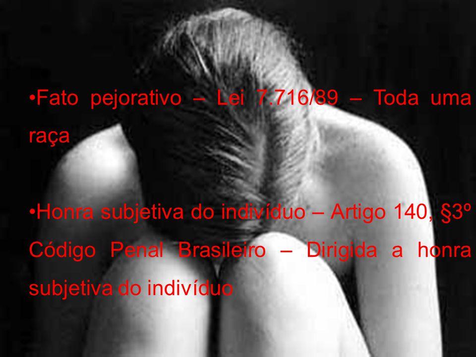 Fato pejorativo – Lei 7.716/89 – Toda uma raça Honra subjetiva do indivíduo – Artigo 140, §3º Código Penal Brasileiro – Dirigida a honra subjetiva do
