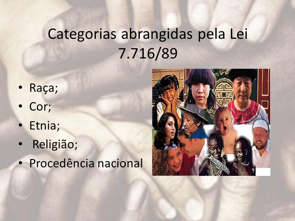 Categorias abrangidas pela Lei 7.716/89 Raça; Cor; Etnia; Religião; Procedência nacional