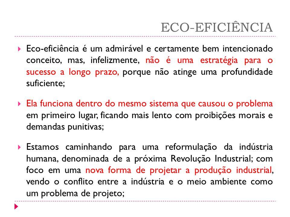 ECO-EFICIÊNCIA Eco-eficiência é um admirável e certamente bem intencionado conceito, mas, infelizmente, não é uma estratégia para o sucesso a longo pr