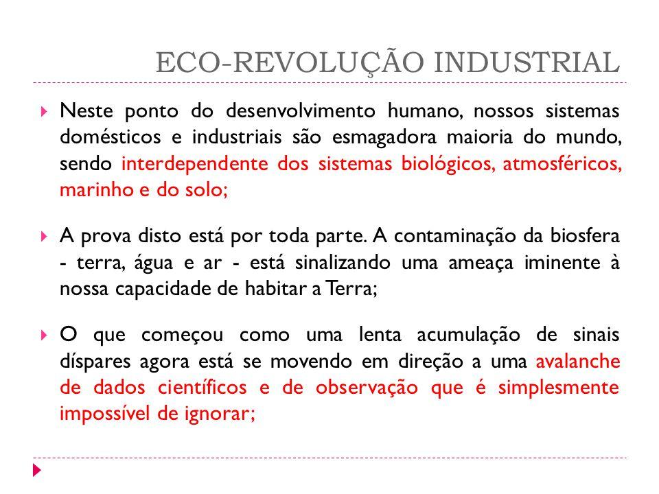 ECO-REVOLUÇÃO INDUSTRIAL Neste ponto do desenvolvimento humano, nossos sistemas domésticos e industriais são esmagadora maioria do mundo, sendo interd