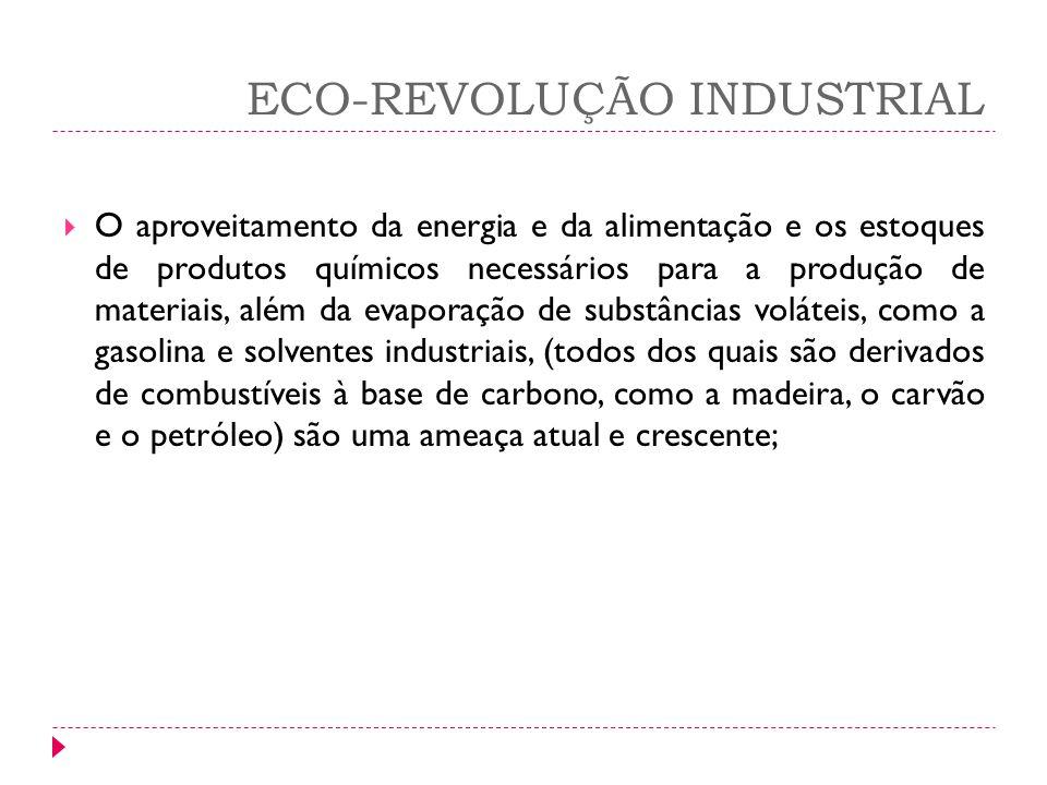 ECO-REVOLUÇÃO INDUSTRIAL O aproveitamento da energia e da alimentação e os estoques de produtos químicos necessários para a produção de materiais, alé