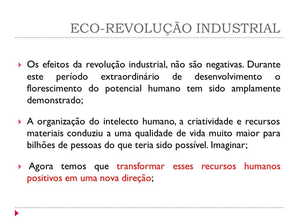 ECO-REVOLUÇÃO INDUSTRIAL Os efeitos da revolução industrial, não são negativas. Durante este período extraordinário de desenvolvimento o florescimento