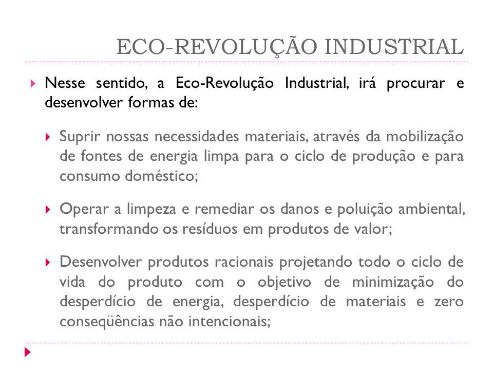 ECO-REVOLUÇÃO INDUSTRIAL Nesse sentido, a Eco-Revolução Industrial, irá procurar e desenvolver formas de: Suprir nossas necessidades materiais, atravé