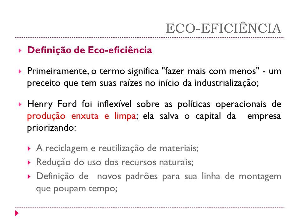 ECO-EFICIÊNCIA Definição de Eco-eficiência Primeiramente, o termo significa
