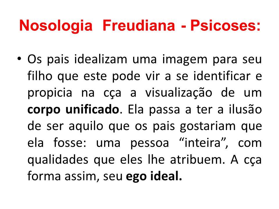 Nosologia Freudiana - Psicoses: Os pais idealizam uma imagem para seu filho que este pode vir a se identificar e propicia na cça a visualização de um