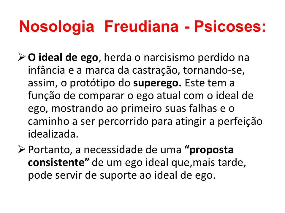Nosologia Freudiana - Psicoses: O ideal de ego, herda o narcisismo perdido na infância e a marca da castração, tornando-se, assim, o protótipo do supe