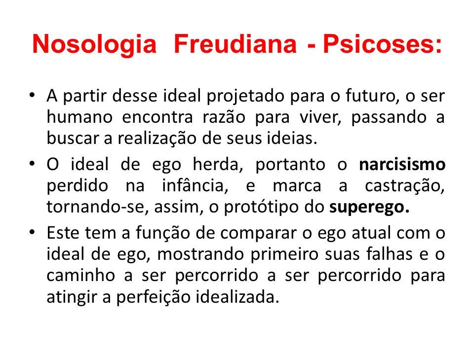 Nosologia Freudiana - Psicoses: A partir desse ideal projetado para o futuro, o ser humano encontra razão para viver, passando a buscar a realização d