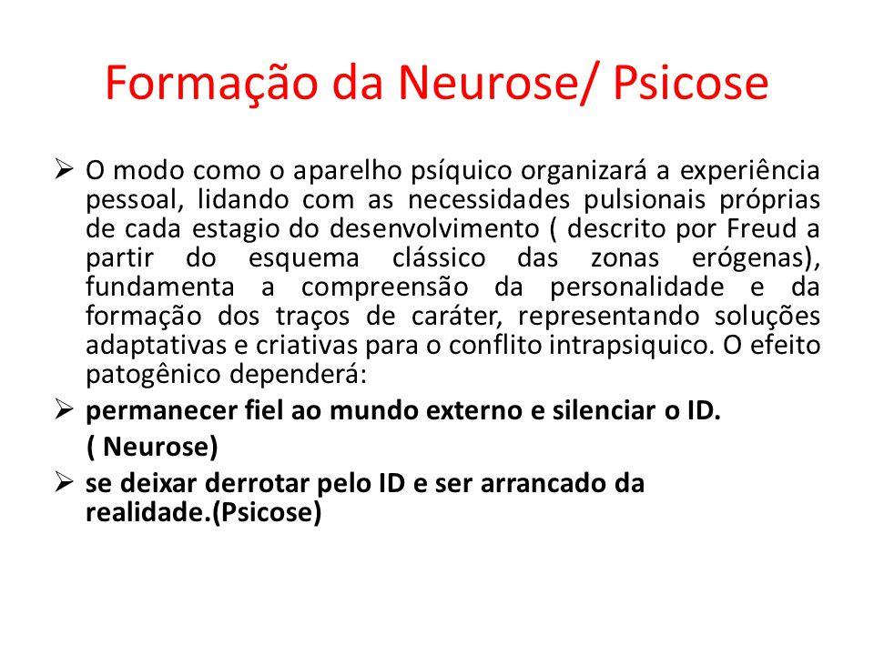 Formação da Neurose/ Psicose O modo como o aparelho psíquico organizará a experiência pessoal, lidando com as necessidades pulsionais próprias de cada