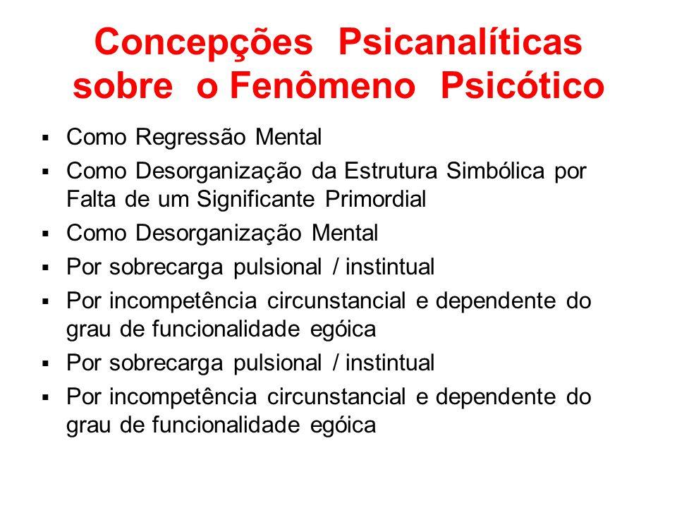Concepções Psicanalíticas sobre o Fenômeno Psicótico Como Regressão Mental Como Desorganização da Estrutura Simbólica por Falta de um Significante Pri