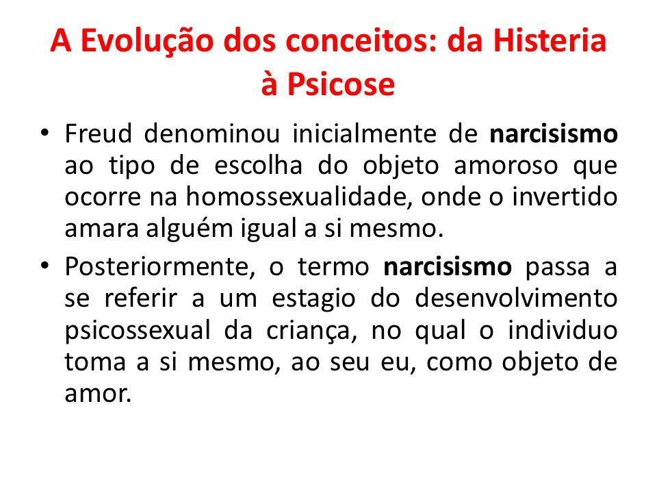 A Evolução dos conceitos: da Histeria à Psicose Freud denominou inicialmente de narcisismo ao tipo de escolha do objeto amoroso que ocorre na homossex