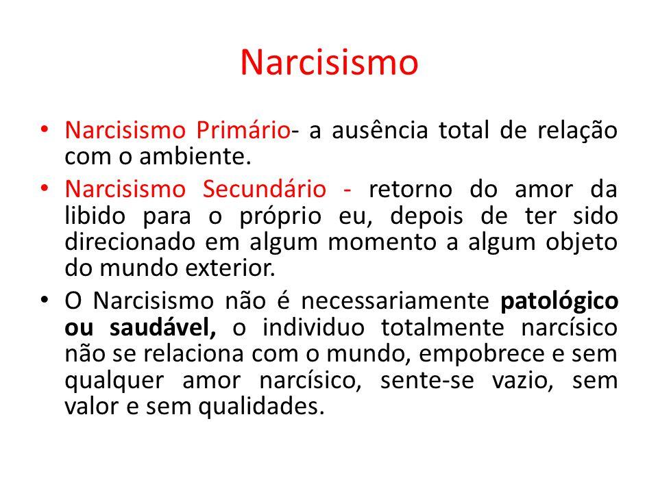 Narcisismo Narcisismo Primário- a ausência total de relação com o ambiente. Narcisismo Secundário - retorno do amor da libido para o próprio eu, depoi