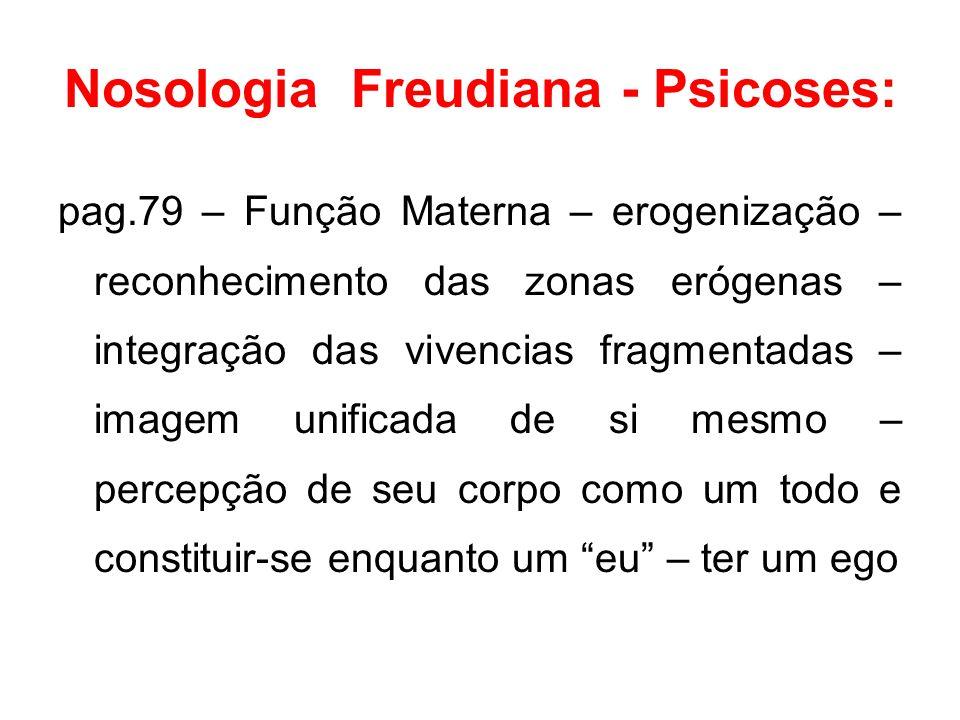 Nosologia Freudiana - Psicoses: pag.79 – Função Materna – erogenização – reconhecimento das zonas erógenas – integração das vivencias fragmentadas – i