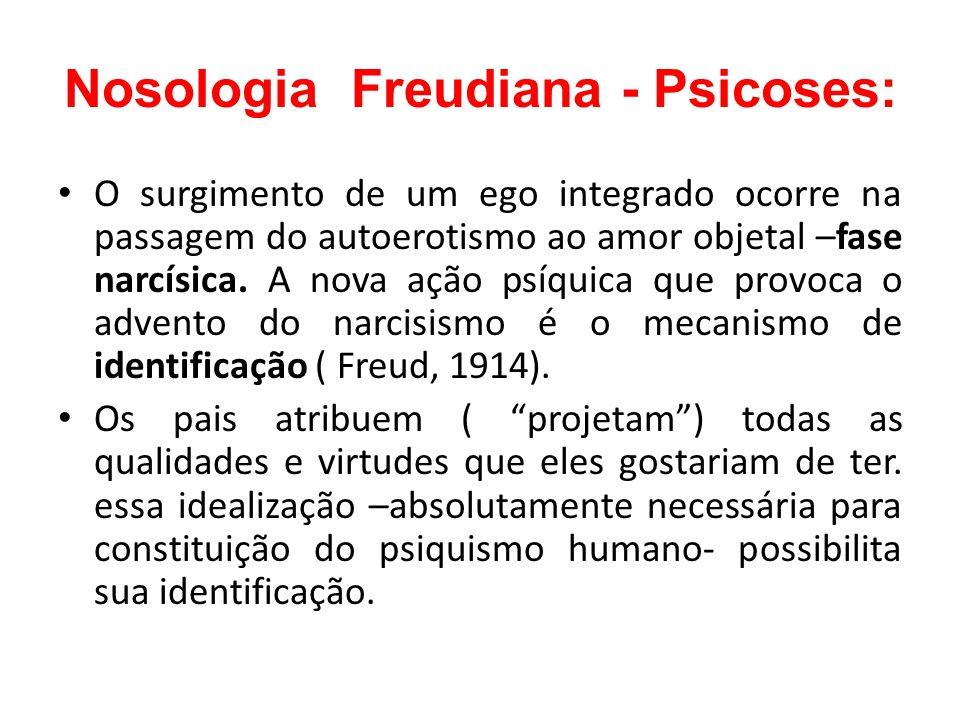 Nosologia Freudiana - Psicoses: O surgimento de um ego integrado ocorre na passagem do autoerotismo ao amor objetal –fase narcísica. A nova ação psíqu