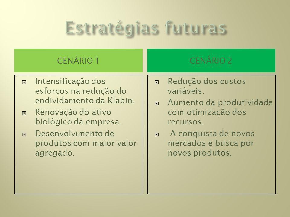 CENÁRIO 1CENÁRIO 2 Intensificação dos esforços na redução do endividamento da Klabin.