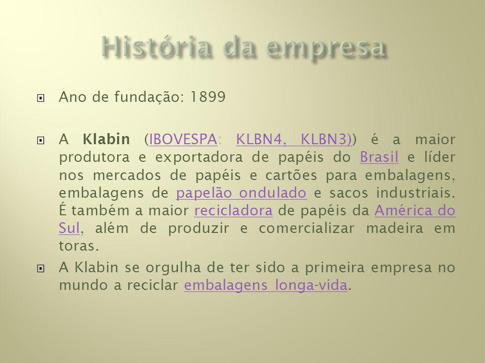 Ano de fundação: 1899 A Klabin (IBOVESPA: KLBN4, KLBN3)) é a maior produtora e exportadora de papéis do Brasil e líder nos mercados de papéis e cartões para embalagens, embalagens de papelão ondulado e sacos industriais.