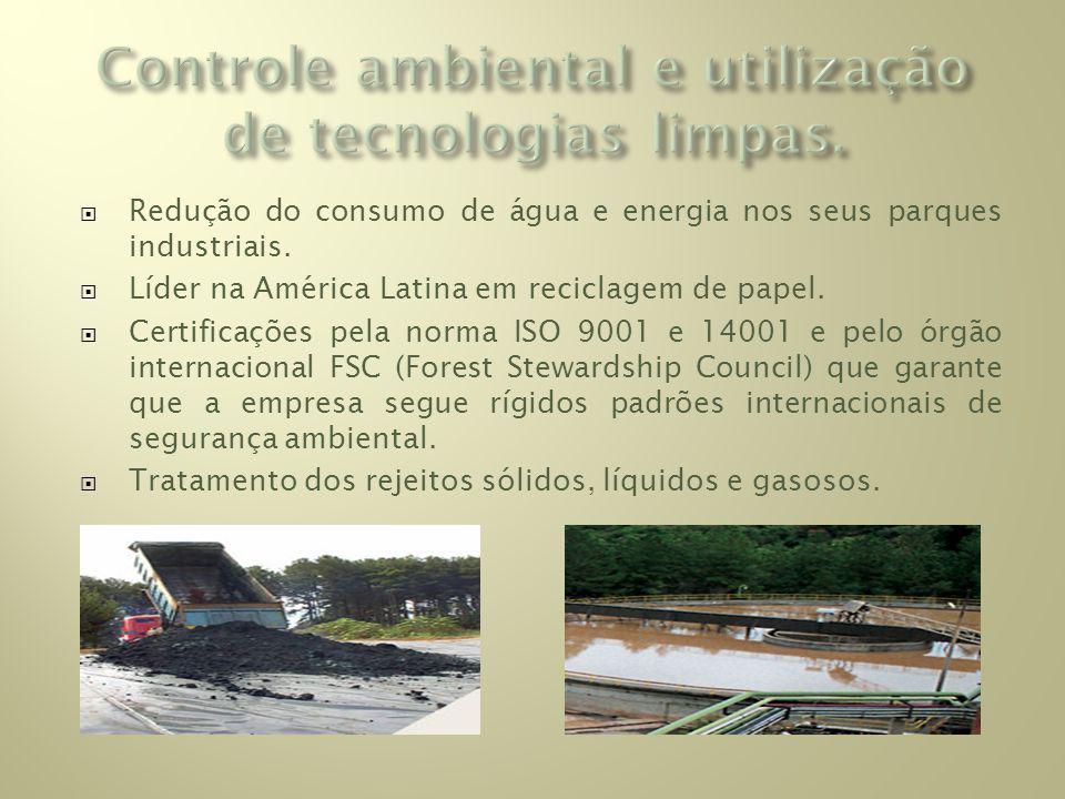 Redução do consumo de água e energia nos seus parques industriais.