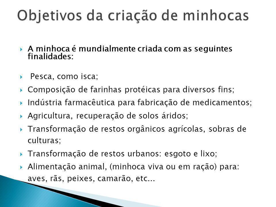 A minhoca é mundialmente criada com as seguintes finalidades: Pesca, como isca; Composição de farinhas protéicas para diversos fins; Indústria farmacê