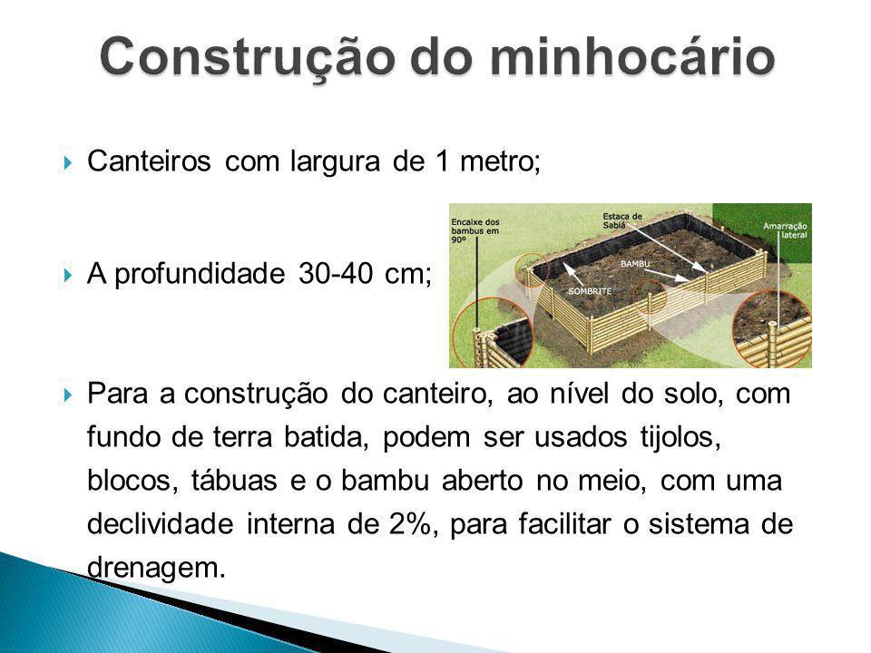 Canteiros com largura de 1 metro; A profundidade 30-40 cm; Para a construção do canteiro, ao nível do solo, com fundo de terra batida, podem ser usado