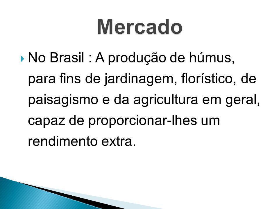 No Brasil : A produção de húmus, para fins de jardinagem, florístico, de paisagismo e da agricultura em geral, capaz de proporcionar-lhes um rendiment