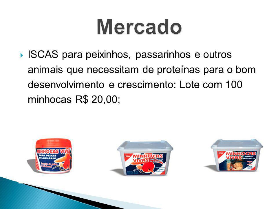 ISCAS para peixinhos, passarinhos e outros animais que necessitam de proteínas para o bom desenvolvimento e crescimento: Lote com 100 minhocas R$ 20,0