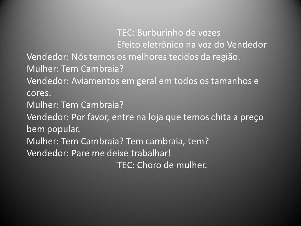 TEC: Burburinho de vozes Efeito eletrônico na voz do Vendedor Vendedor: Nós temos os melhores tecidos da região.