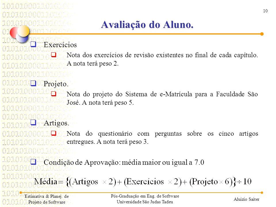 10 Aluizio Saiter Estimativa & Planej. de Projeto de Software Avaliação do Aluno. Exercícios Nota dos exercícios de revisão existentes no final de cad