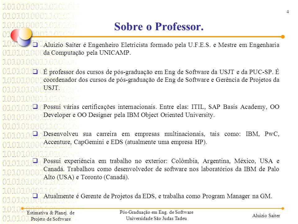4 Aluizio Saiter Sobre o Professor. Aluizio Saiter é Engenheiro Eletricista formado pela U.F.E.S. e Mestre em Engenharia da Computação pela UNICAMP. É