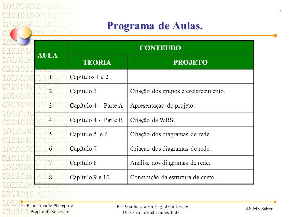 7 Aluizio Saiter Estimativa & Planej. de Projeto de Software Programa de Aulas. AULA CONTEUDO TEORIAPROJETO 1Capítulos 1 e 2 2Capítulo 3Criação dos gr