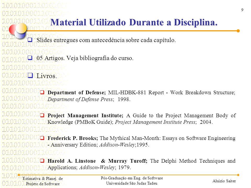 9 Aluizio Saiter Estimativa & Planej. de Projeto de Software Material Utilizado Durante a Disciplina. Slides entregues com antecedência sobre cada cap