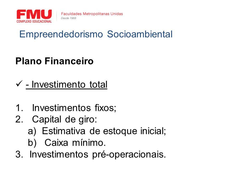 Plano Financeiro - Investimento total 1. Investimentos fixos; 2. Capital de giro: a)Estimativa de estoque inicial; b) Caixa mínimo. 3.Investimentos pr