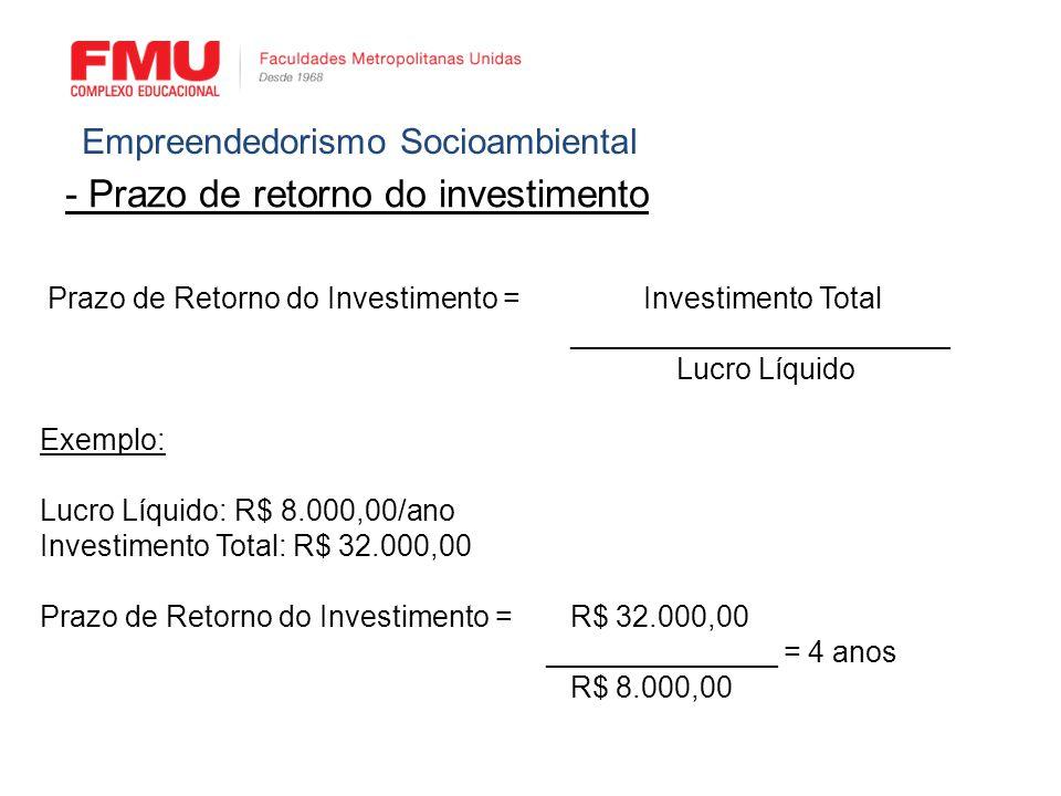 - Prazo de retorno do investimento Empreendedorismo Socioambiental Prazo de Retorno do Investimento = Investimento Total _______________________ Lucro