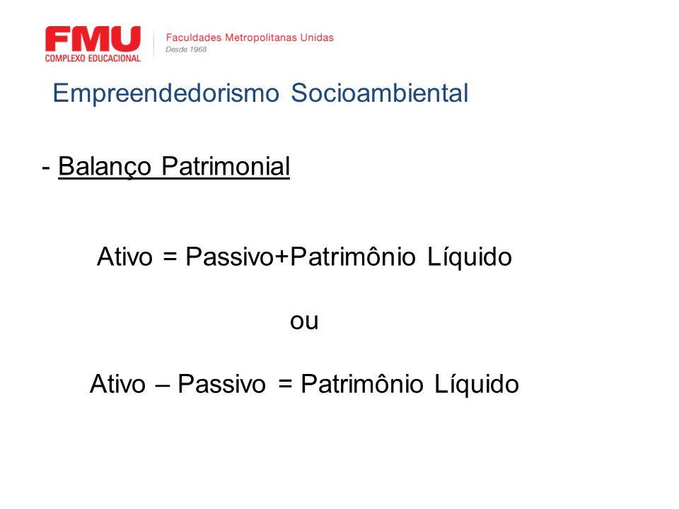 - Balanço Patrimonial Ativo = Passivo+Patrimônio Líquido ou Ativo – Passivo = Patrimônio Líquido Empreendedorismo Socioambiental