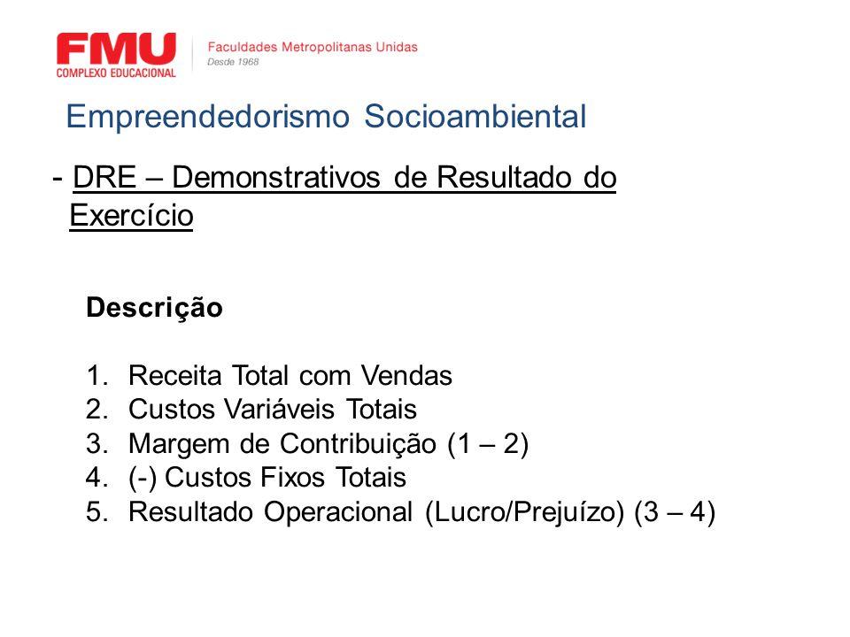 - DRE – Demonstrativos de Resultado do Exercício Empreendedorismo Socioambiental Descrição 1.Receita Total com Vendas 2.Custos Variáveis Totais 3.Marg
