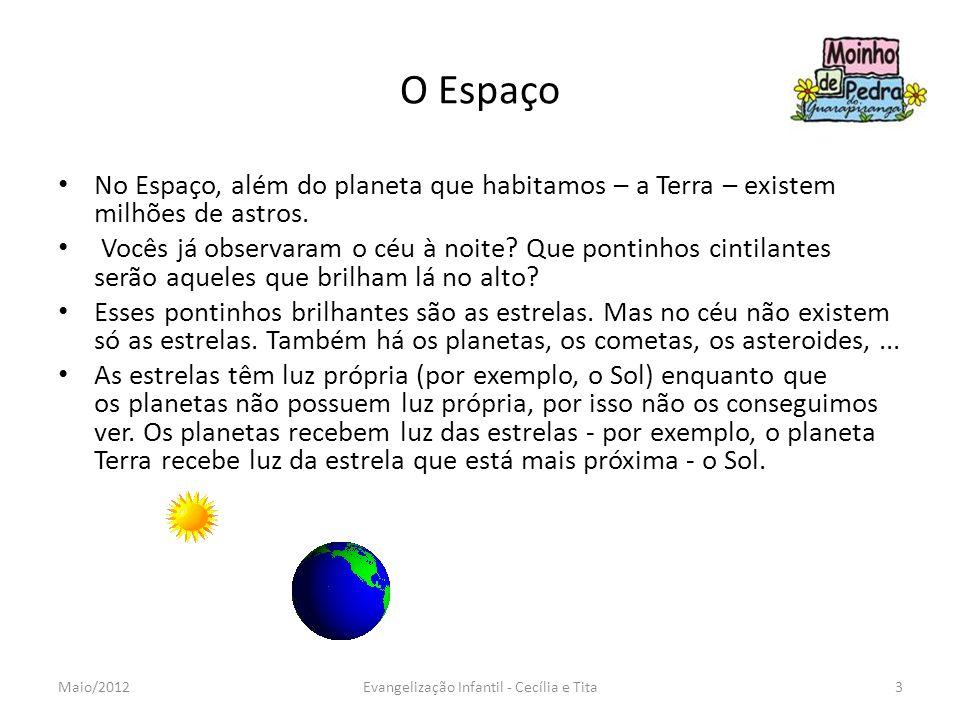 O Espaço No Espaço, além do planeta que habitamos – a Terra – existem milhões de astros. Vocês já observaram o céu à noite? Que pontinhos cintilantes