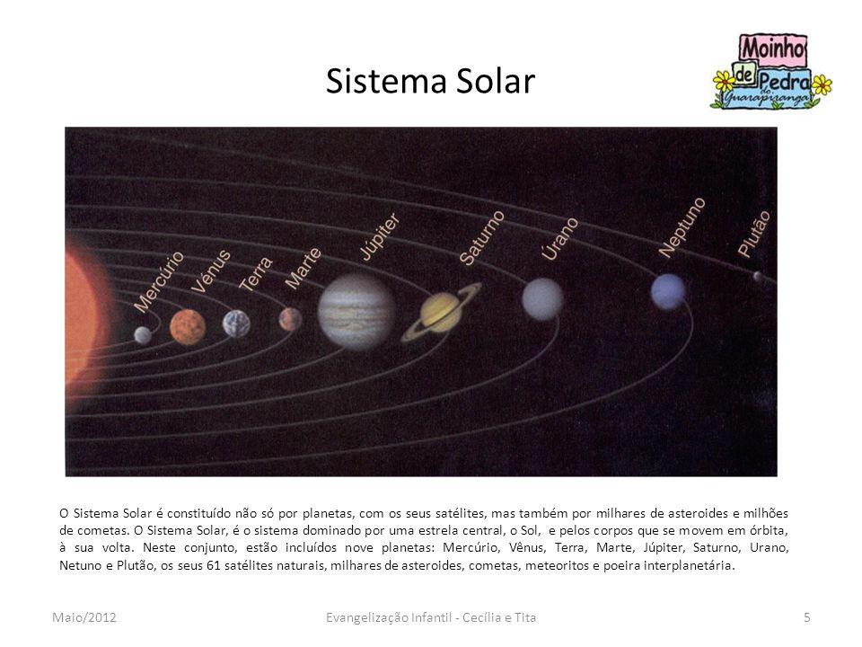 Sistema Solar 5Evangelização Infantil - Cecília e TitaMaio/2012 O Sistema Solar é constituído não só por planetas, com os seus satélites, mas também p