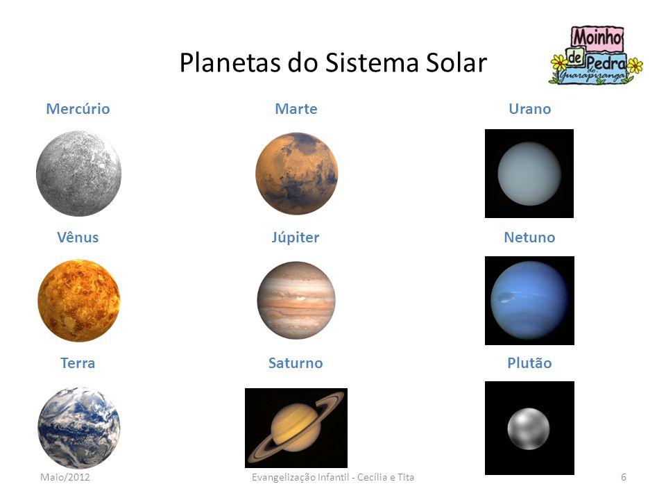 Planetas do Sistema Solar Mercúrio Vênus Terra Marte Júpiter Saturno Urano Netuno Plutão 6Evangelização Infantil - Cecília e TitaMaio/2012