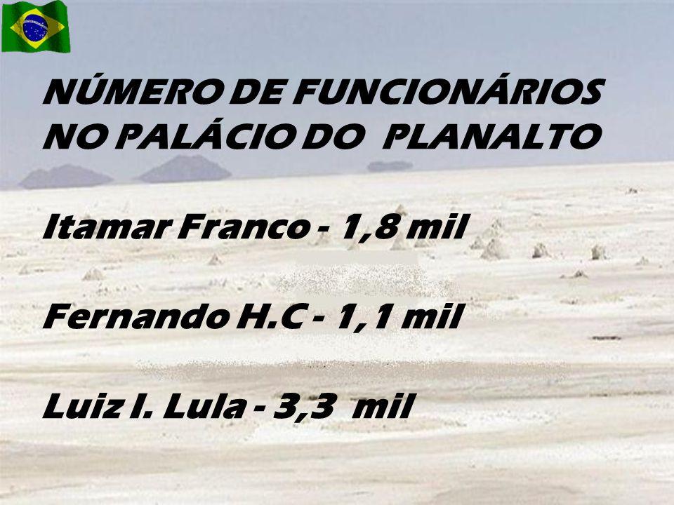 1995 - FHC - R$ 38,4 milhões.2003 - Lula - R$ 318,6 milhões.