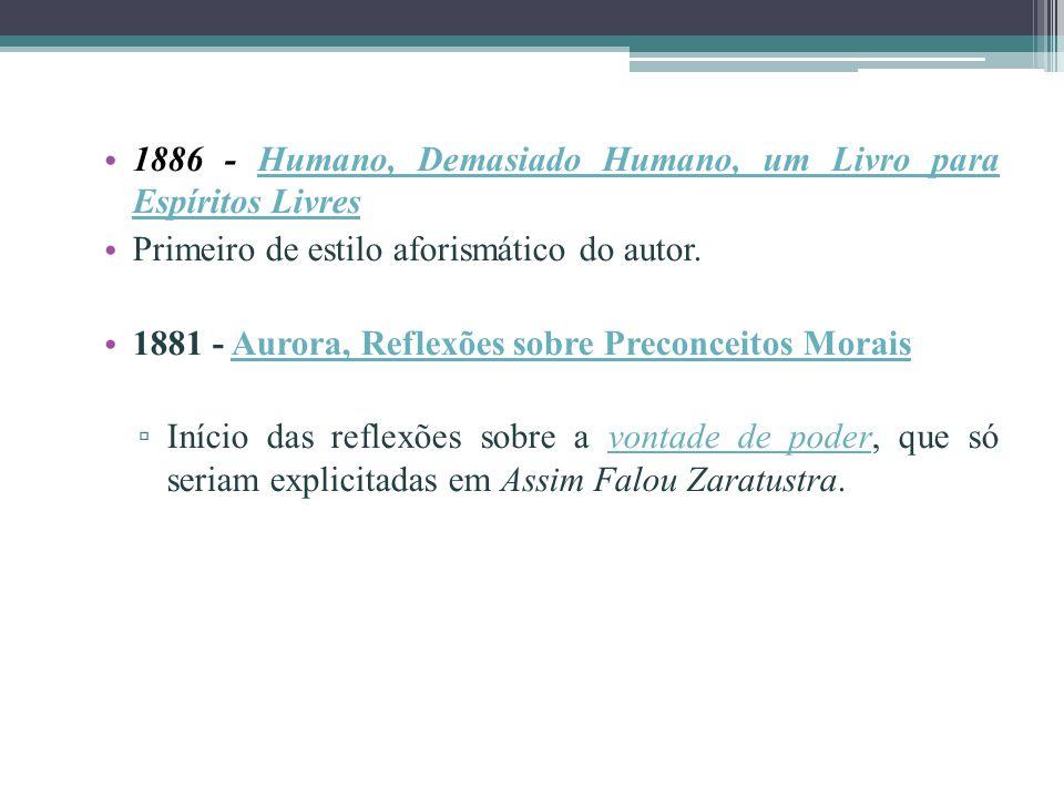 1886 - Humano, Demasiado Humano, um Livro para Espíritos Livres Humano, Demasiado Humano, um Livro para Espíritos Livres Primeiro de estilo aforismáti